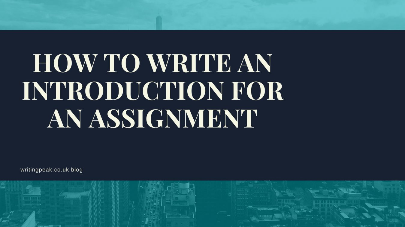 Introduction for an assignment